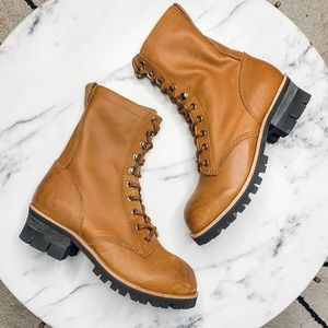 Jeffrey Campbell x FP Brown lace up moto boot